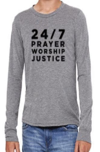 24/7 Prayer, Worship, Justice Youth Long-Sleeve T-Shirt - Merchandise: Clothing - Forerunner Bookstore - Forerunner Bookstore Online Store