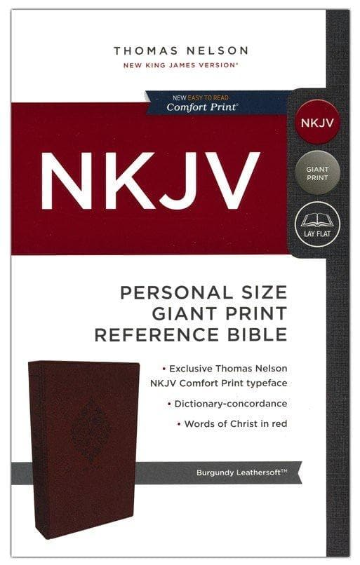 NKJV Comfort Print Reference Bible, Personal Size Giant Print, Imitation Leather, Burgundy
