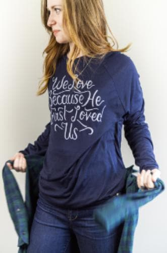 We Love Because Sweater - Merchandise: Clothing - Forerunner Bookstore - Forerunner Bookstore Online Store