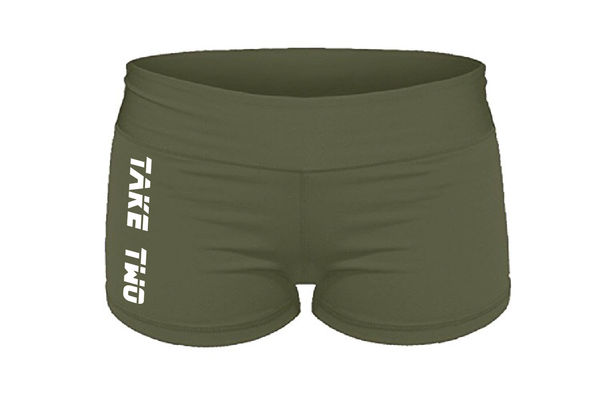 "Shorts - WOD Booty Shorts - Military Green ""Take Two"""