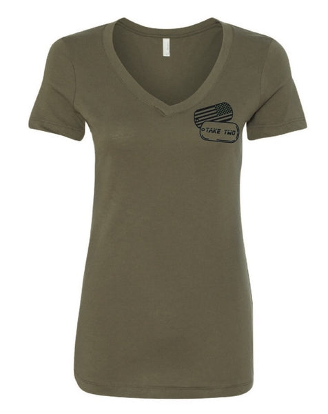 Tee - Women's Tee - V Neck Military Green