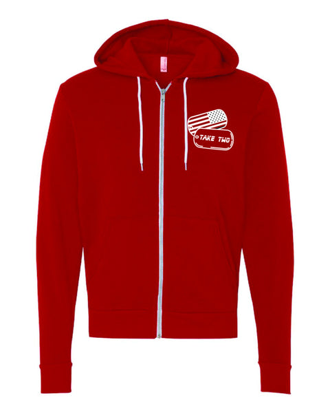 Hoodie(zip up) - Red (unisex)