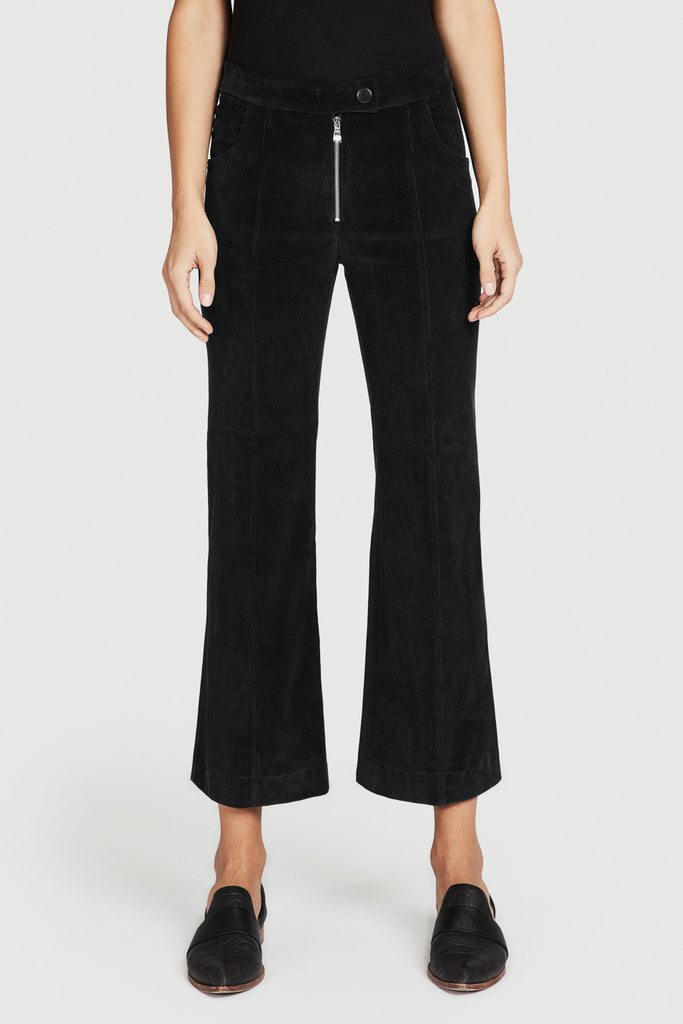 Black Corduroy Cropped Flare Pant
