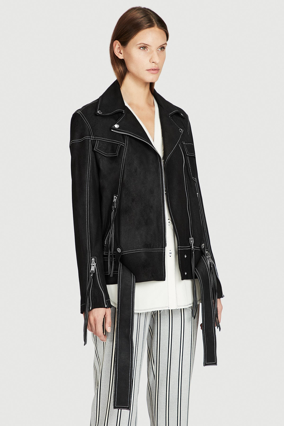 Black Feather Leather Jacket