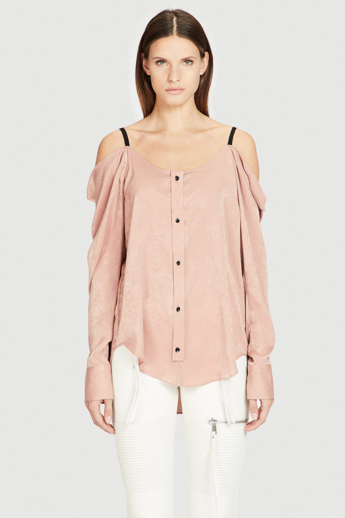 Blush Brush Satin Off Shoulder Blouse