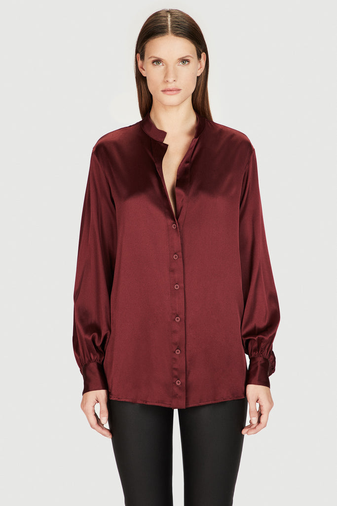 Silk Oversized Sleeve Blouse in Burgundy