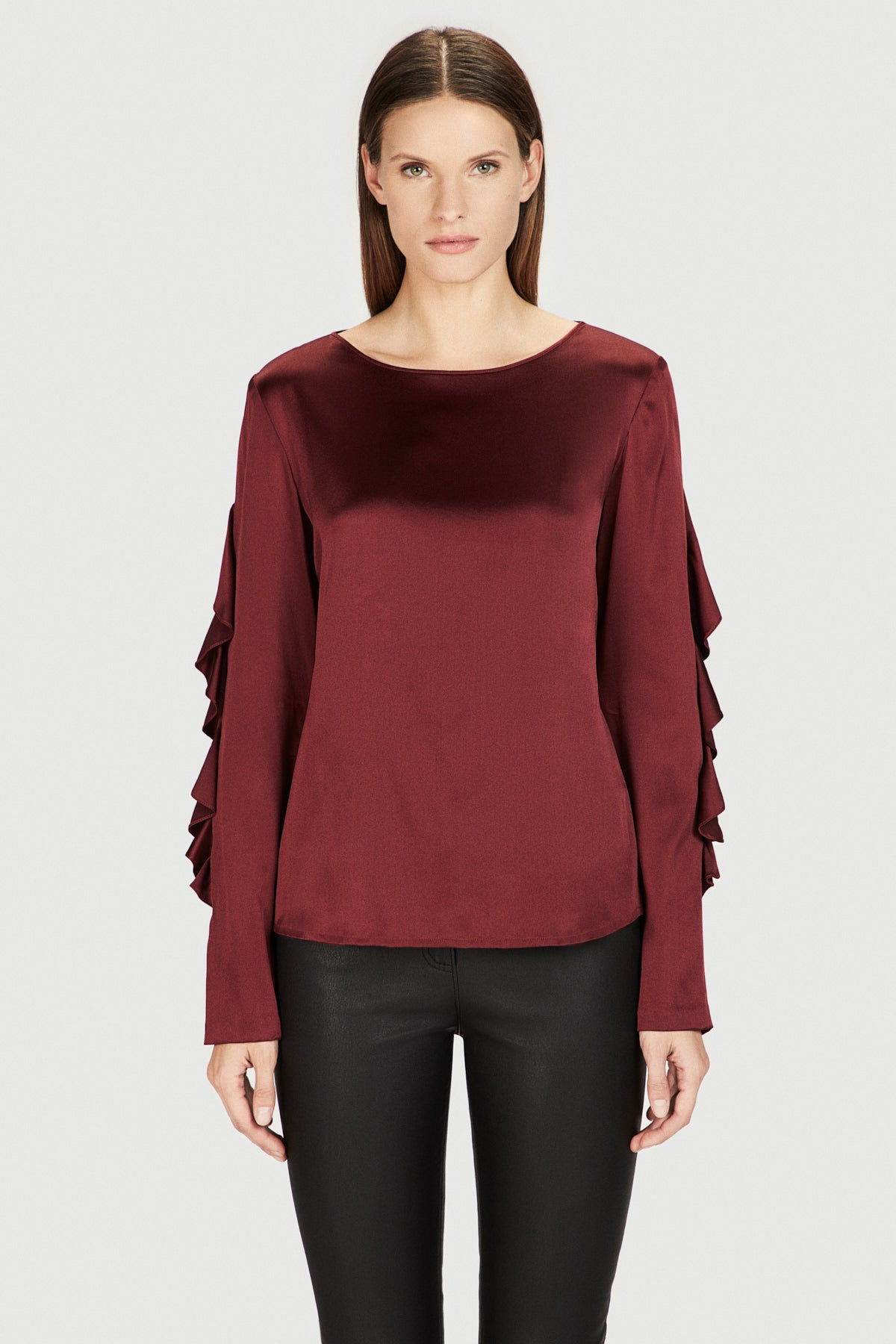 Silk Ruffle Sleeve Shirt in Burgundy