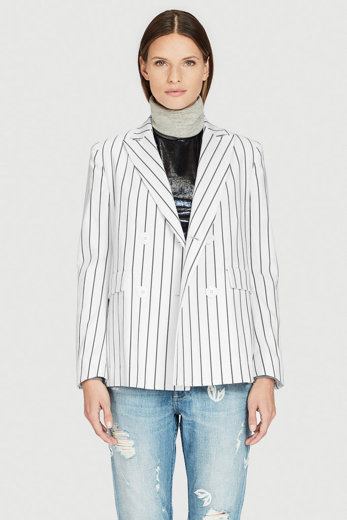 Striped Cotton Shrunken Jacket