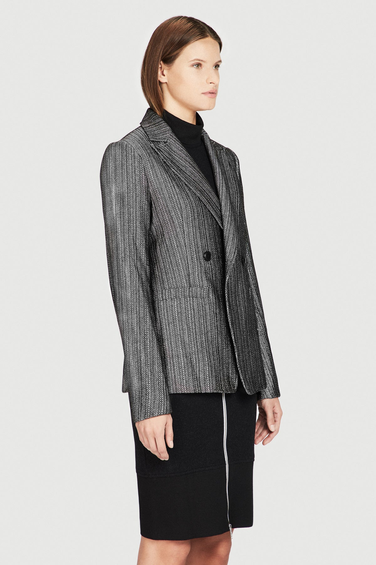 Signature Shrunken Double Breasted Jacket in Silver
