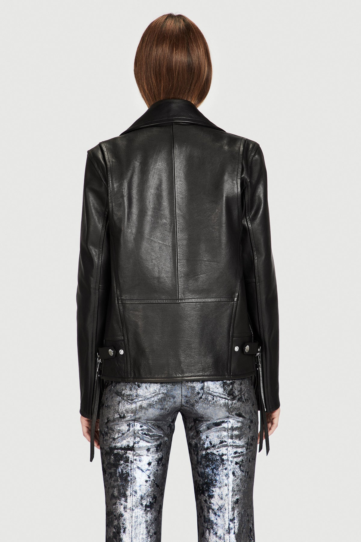 Leather Moto Jacket in Black