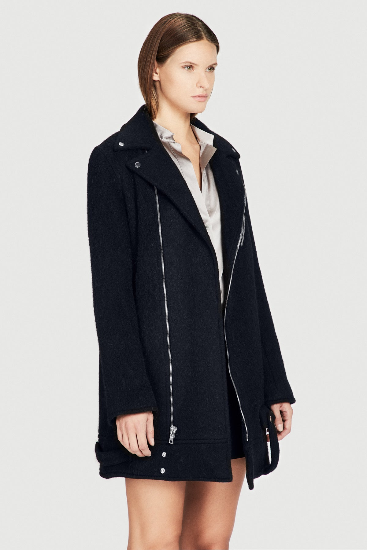 Felted Wool Moto Coat in Midnight