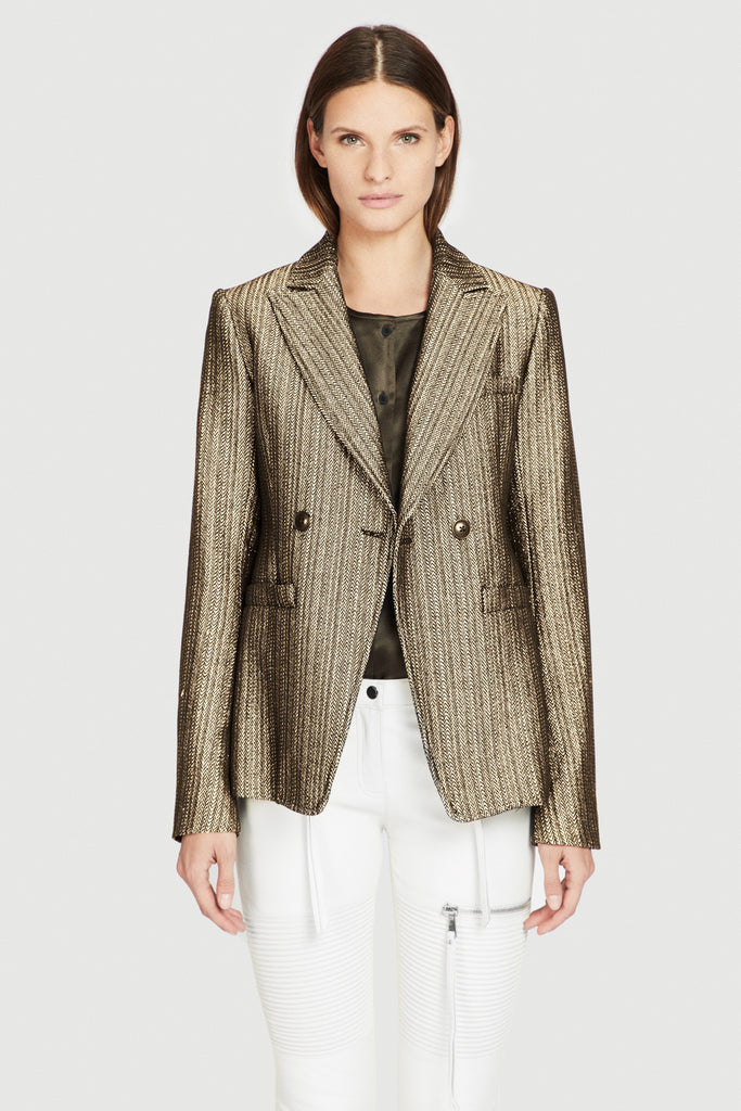 Signature Shrunken Double Breasted Jacket in Gold