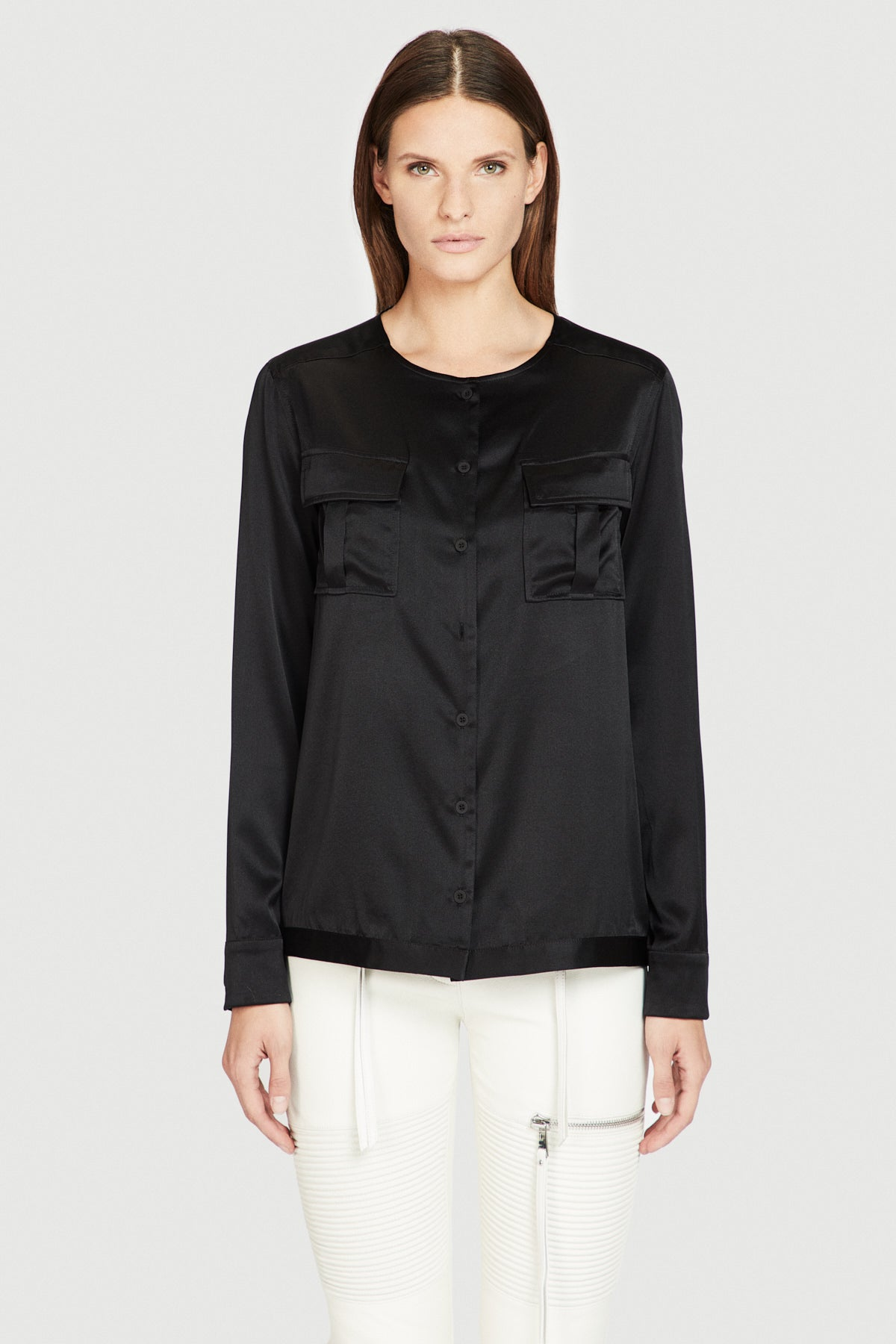 Silk Military Shirt in Black