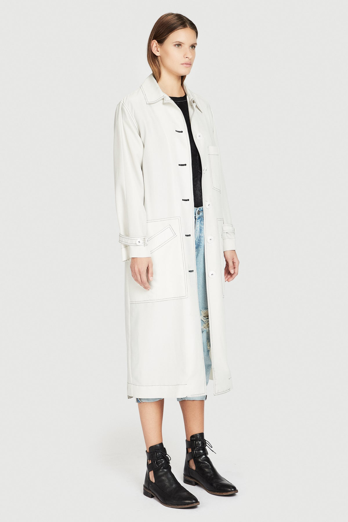 Contrast Stich Duster Coat