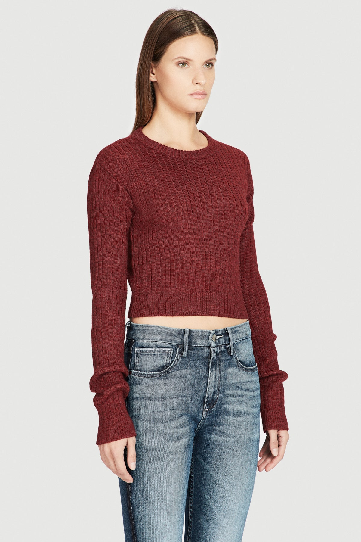 Red Baby Alpaca Crop Ribbed Sweater