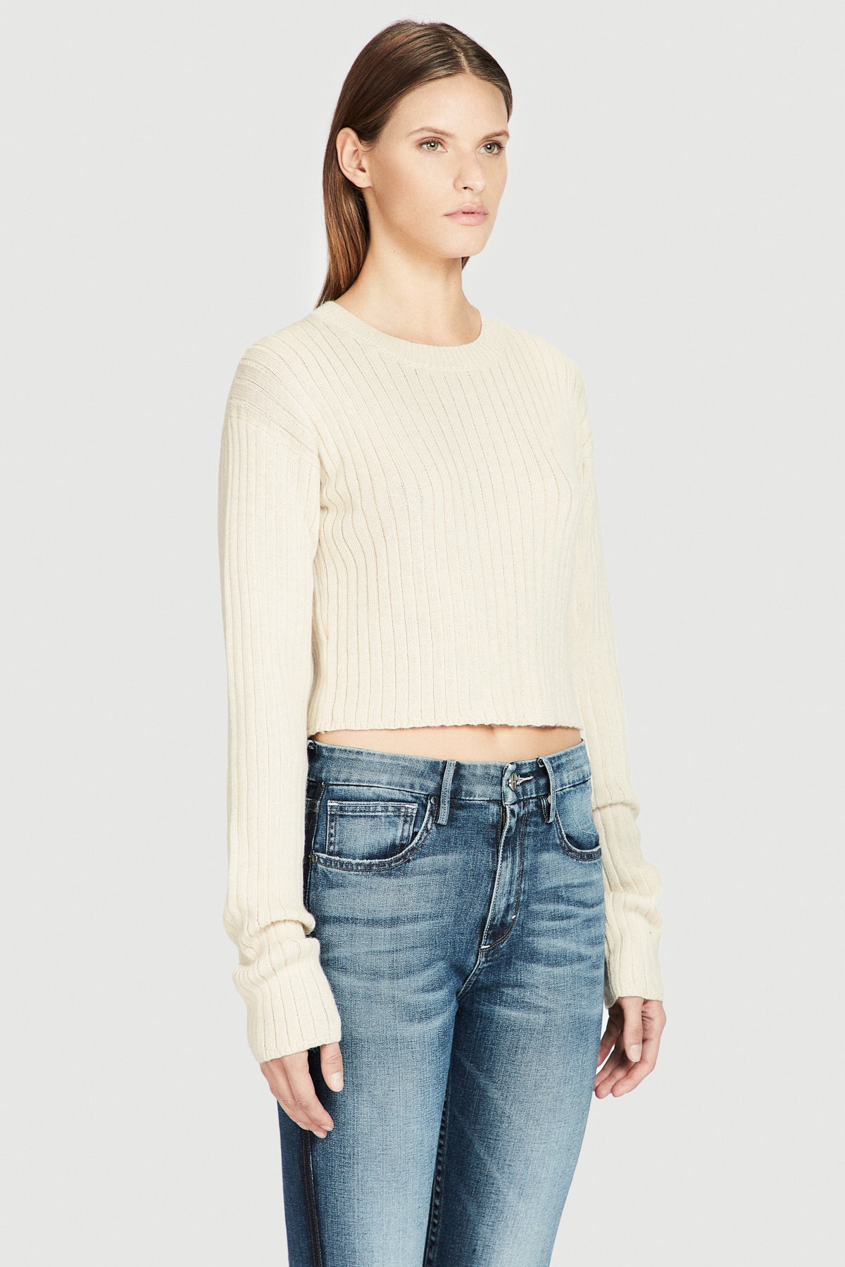 Ivory Baby Alpaca Cropped Sweater