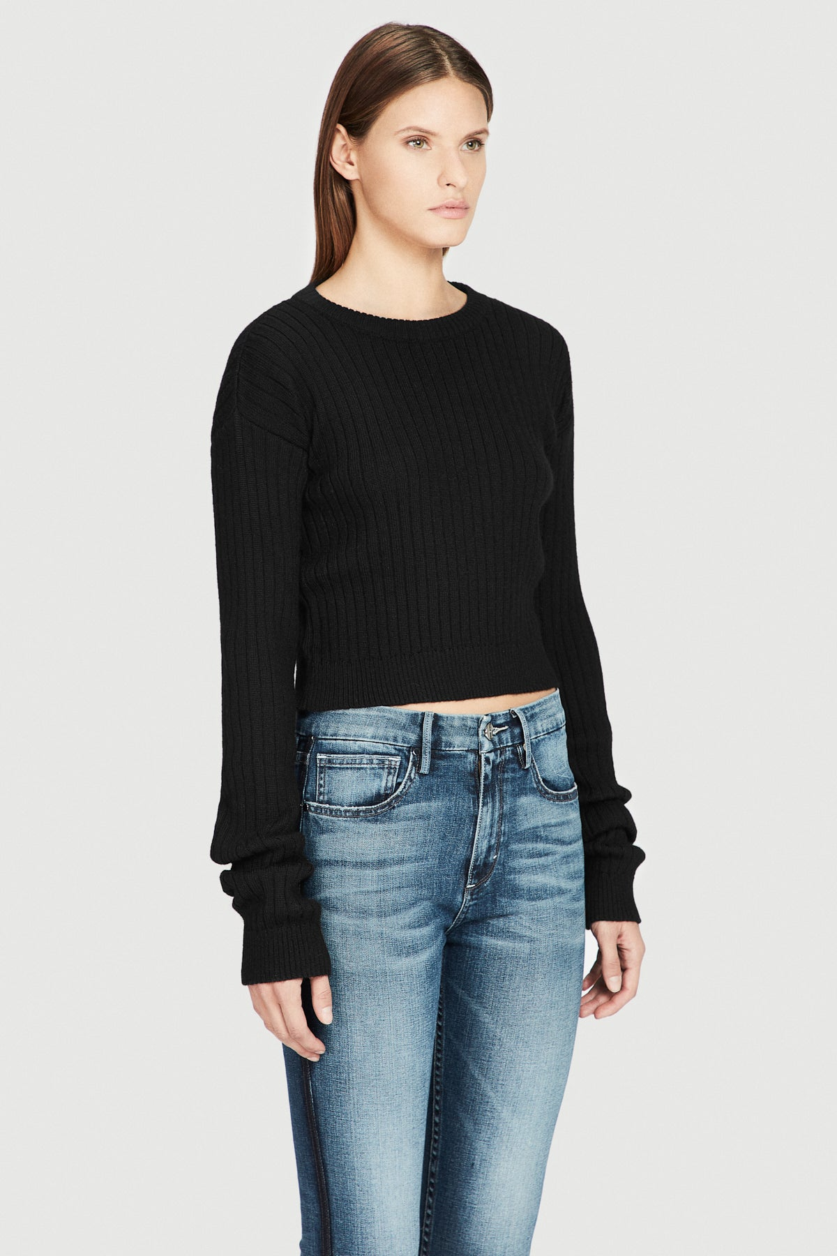 Black Baby Alpaca Cropped Sweater