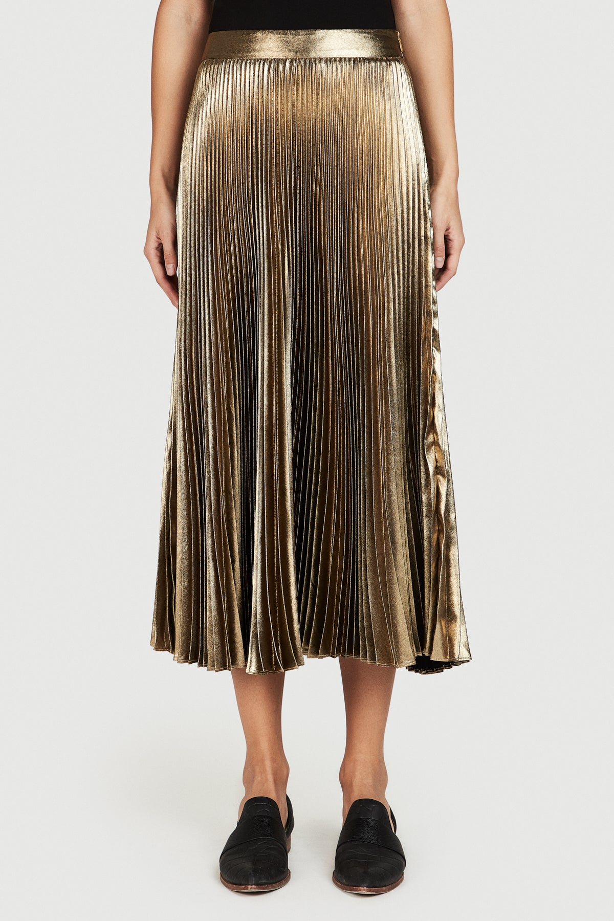 Gold Pleated Lame Skirt