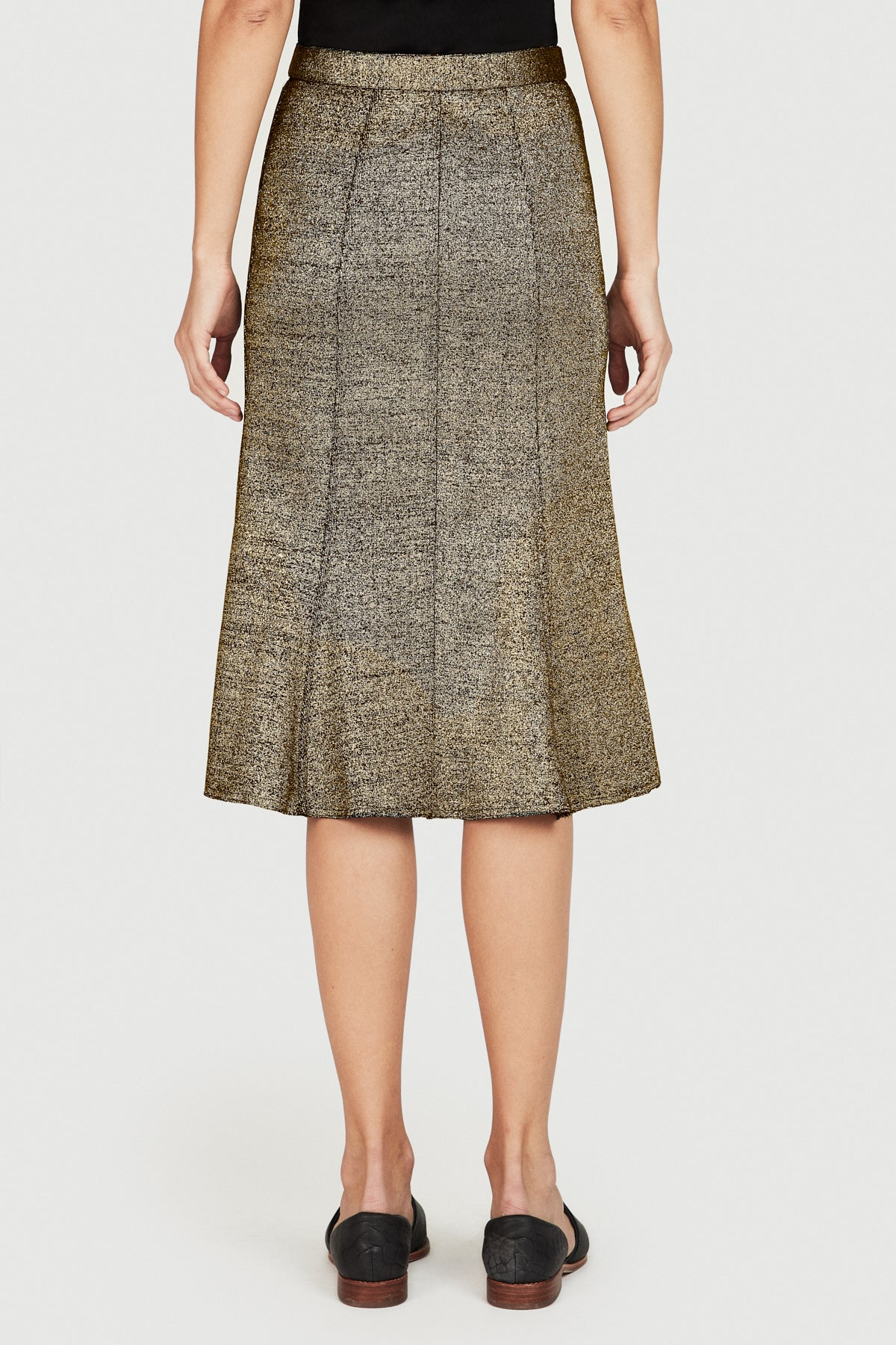 Gold Rib Knit Flared Skirt