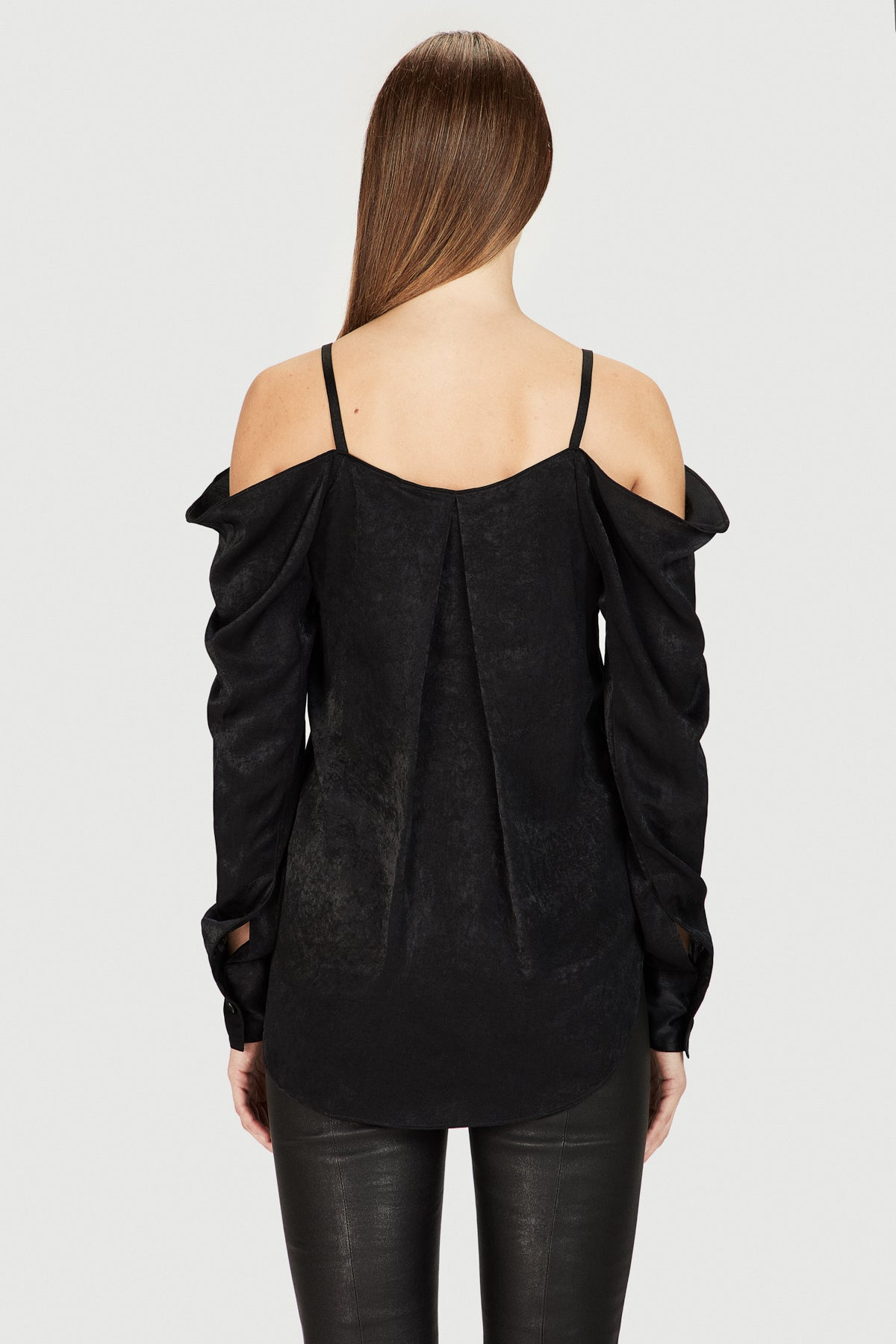 Black Brush Satin Off Shoulder Blouse