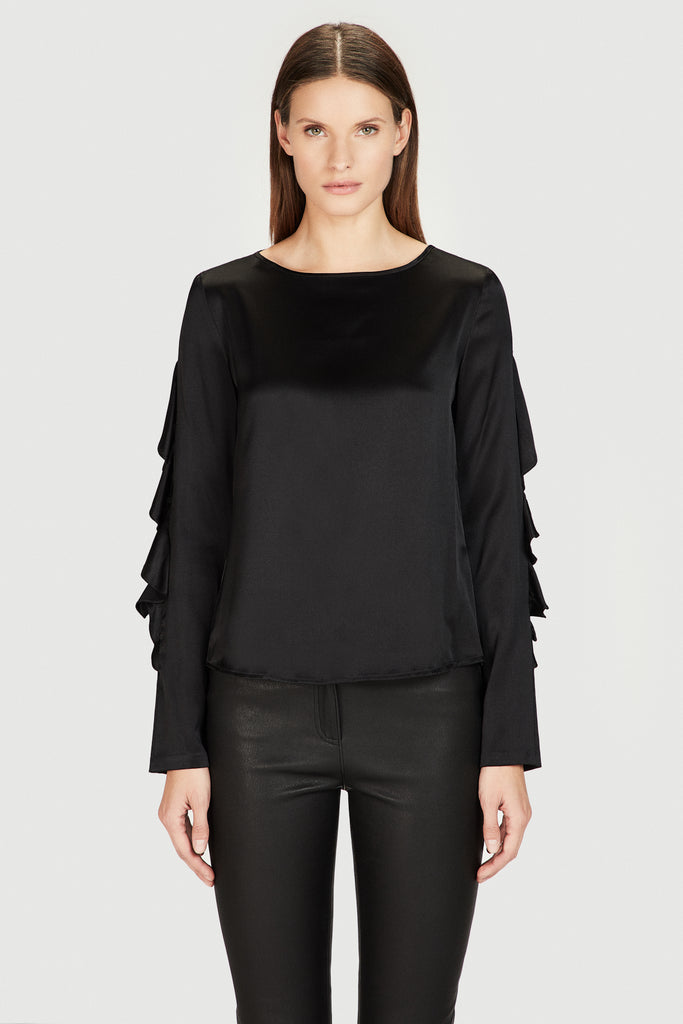 Silk Ruffle Sleeve Shirt in Black