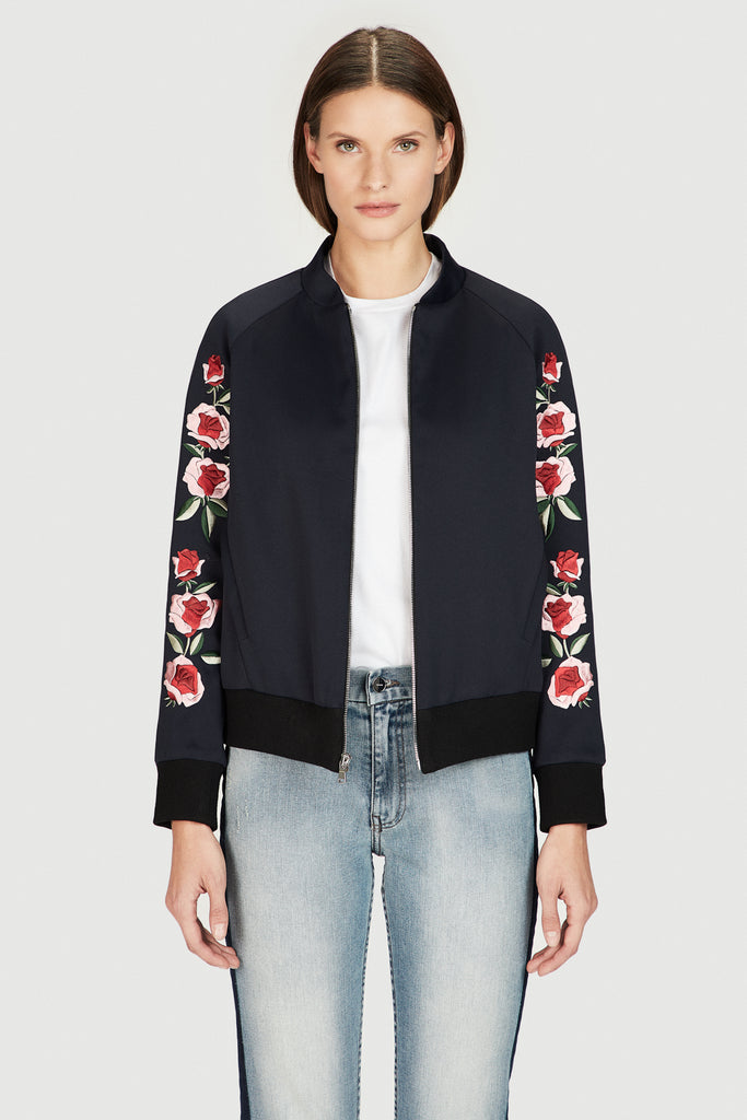 Navy Scuba Bomber Jacket with Embroidery