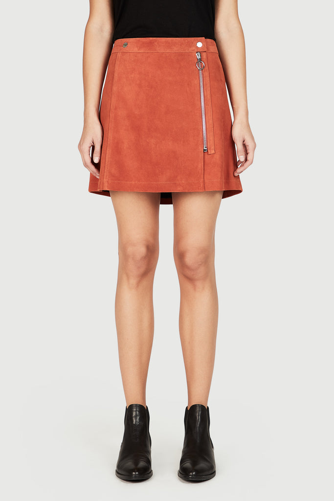 Suede Mini Skirt in Persimmon