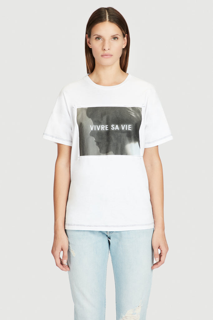"Cotton Knit Square Cut ""VIVRE SA VIE"" Tee"