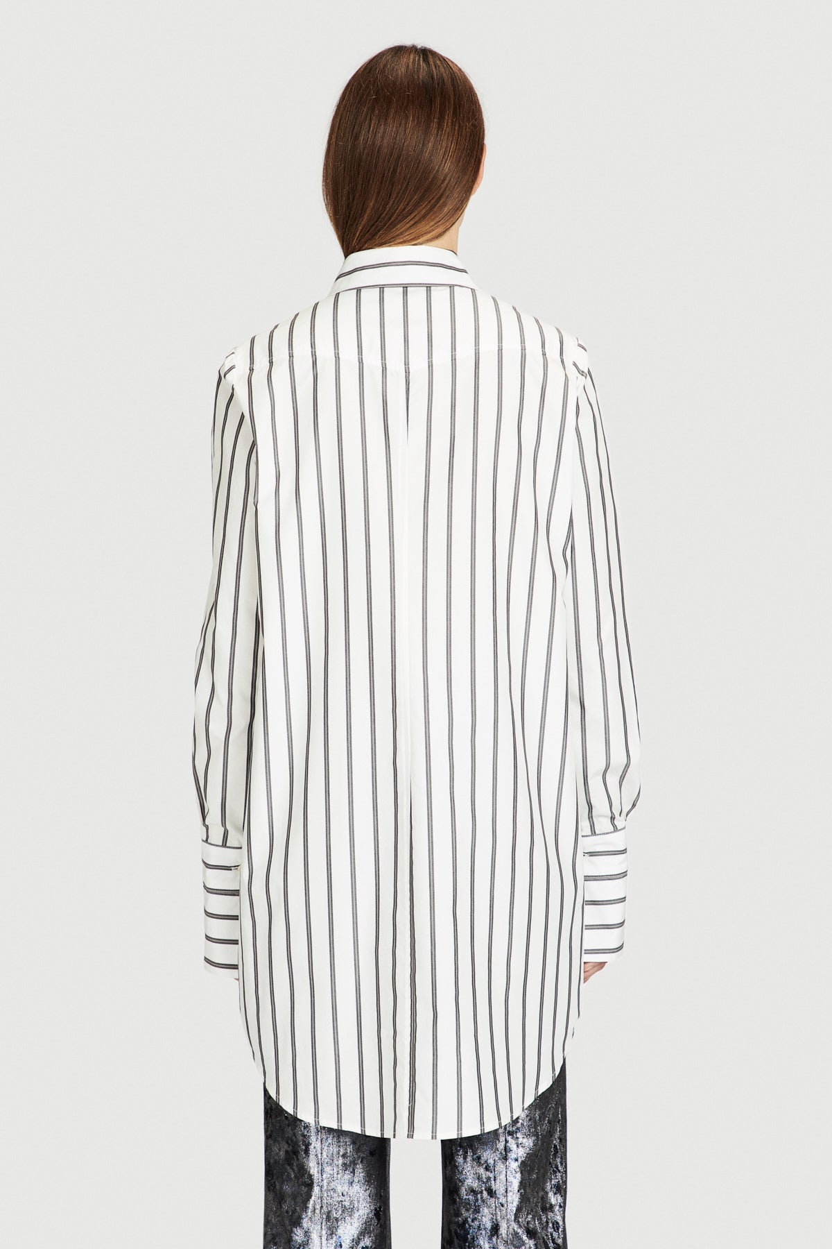Gold Striped Cotton Boyfriend Shirt
