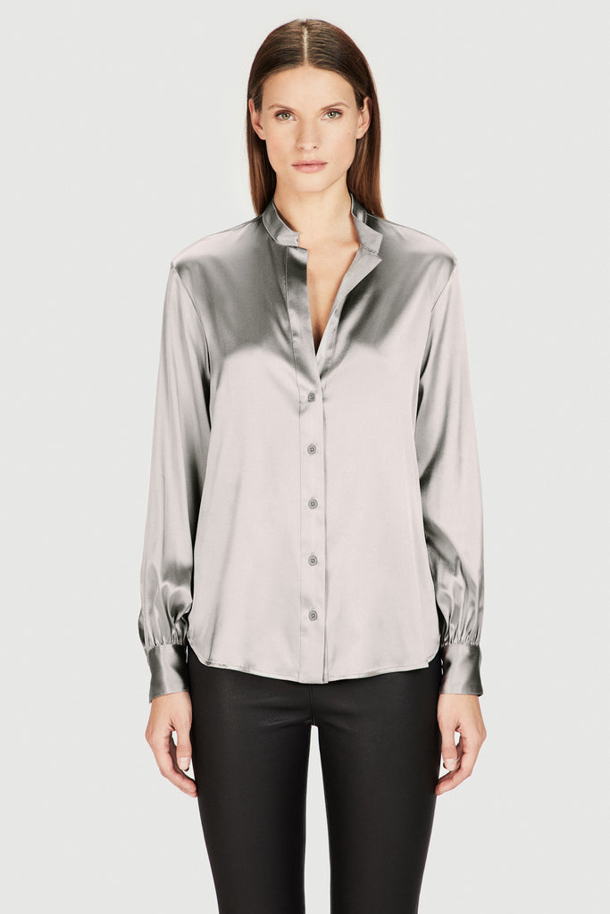 Silk Oversized Sleeve Blouse in Grey