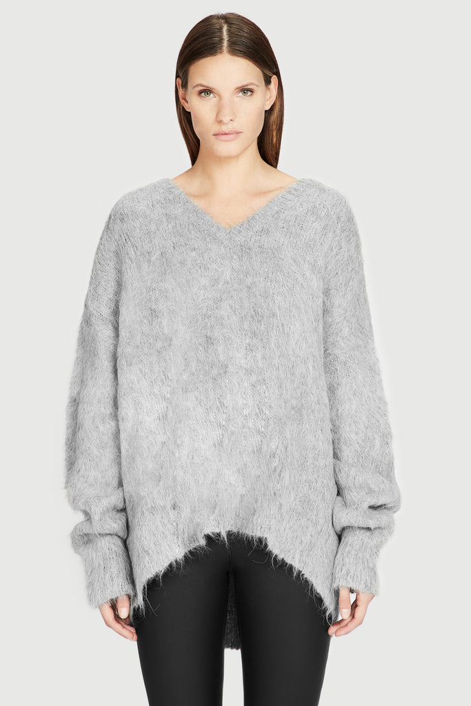 Grey Varsity Oversized Brushed AlpacaV Neck Sweater