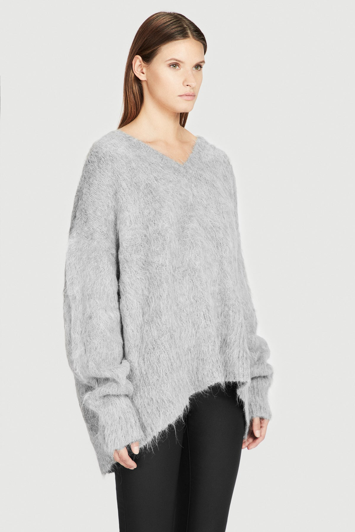 Grey Varsity Oversized Brushed Alpaca V Neck Sweater