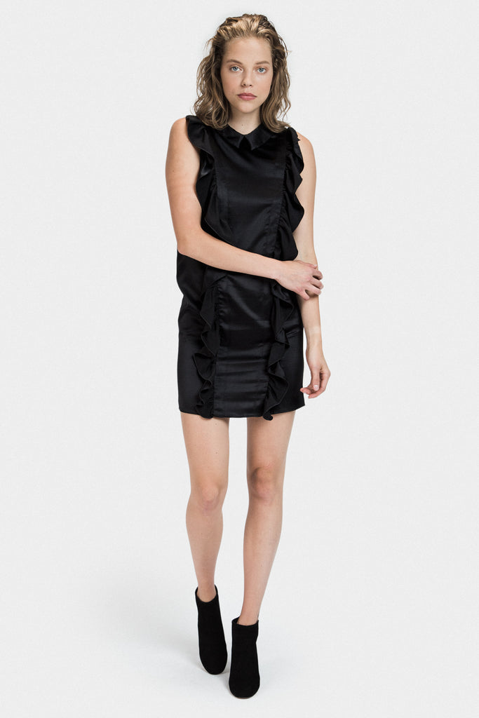 SILK SLEEVELESS RUFFLE DRESS IN BLACK - FRANKIE