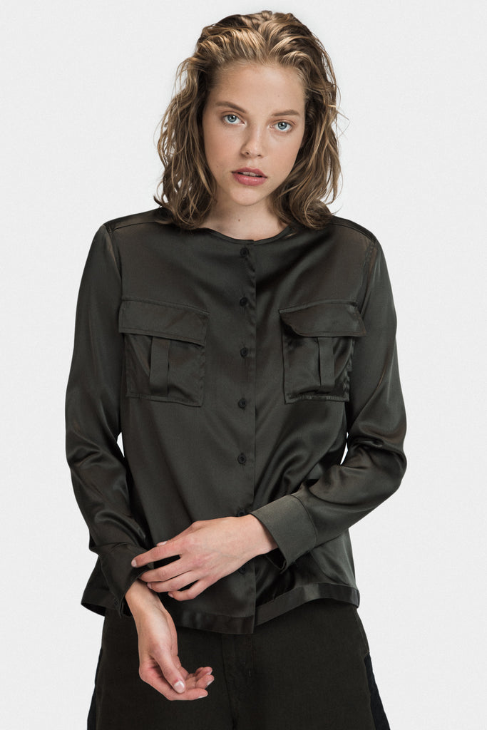 SILK MILITARY SHIRT IN OLIVE - FRANKIE