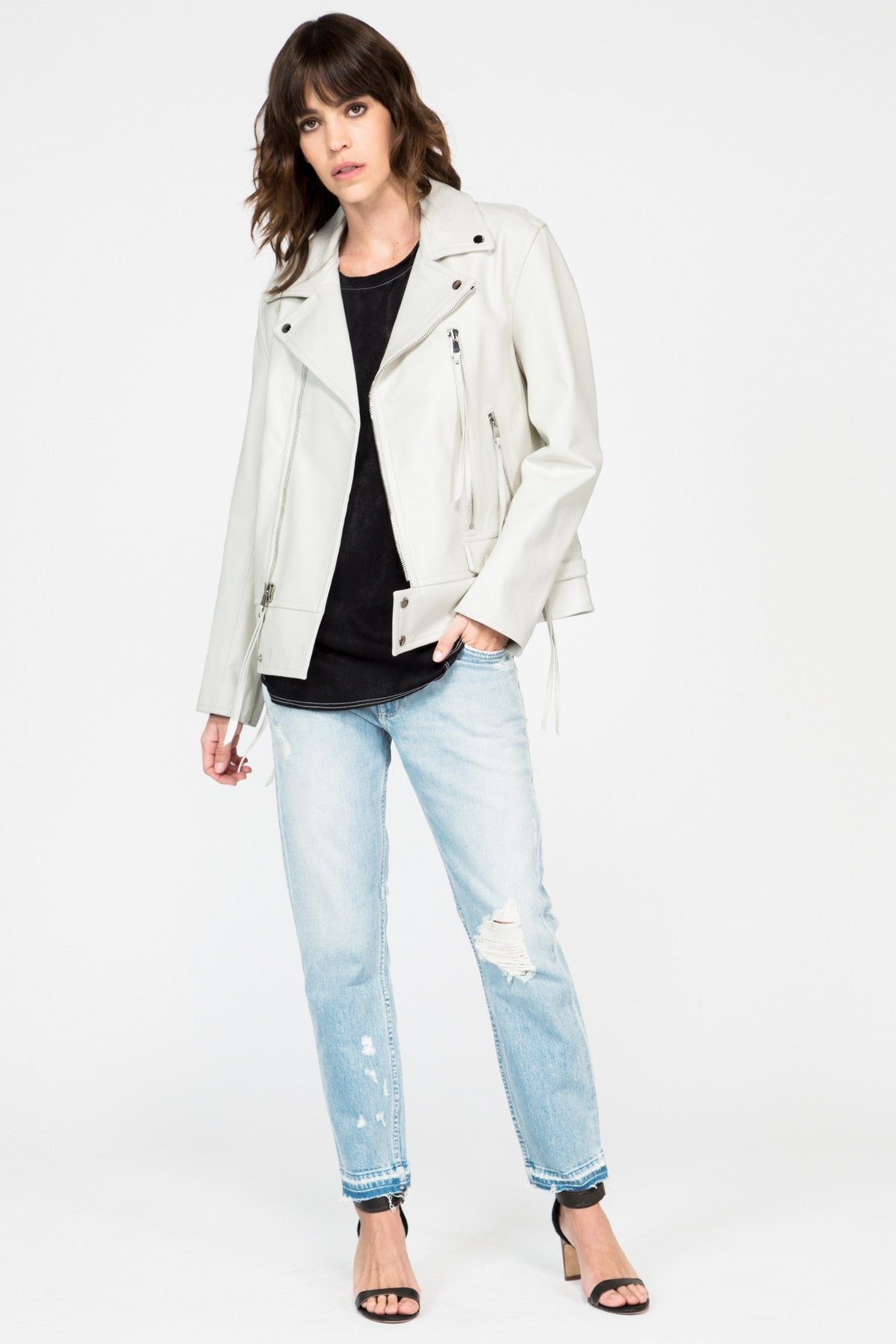 White Leather Boyfriend Moto Jacket