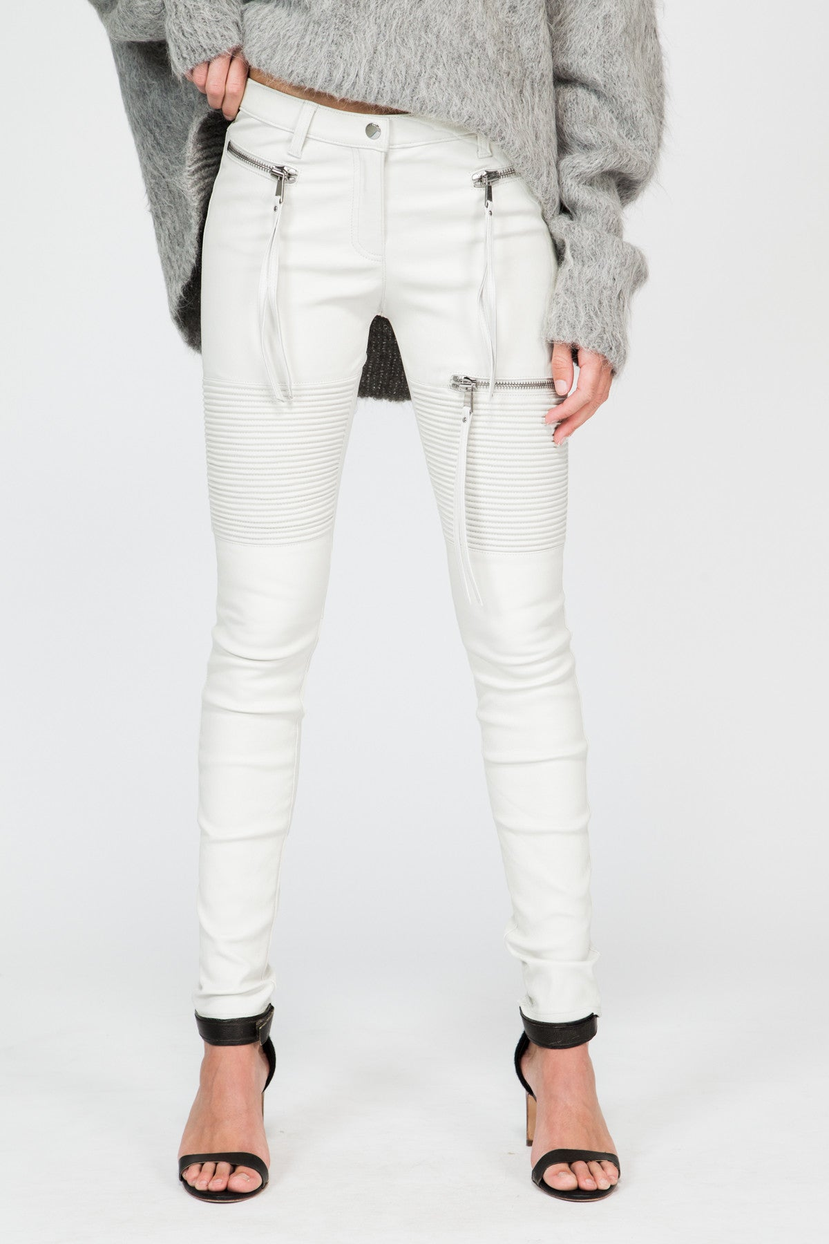 White Stretch Lamb Leather Moto Pant