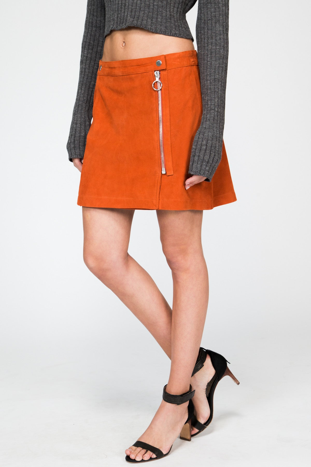 Persimmon Suede Zipped Skirt