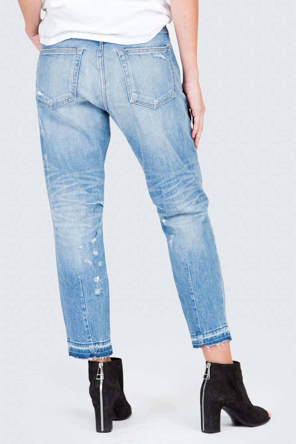 Vintage Medium Blue Boyfriend Jean Distressed - FRANKIE