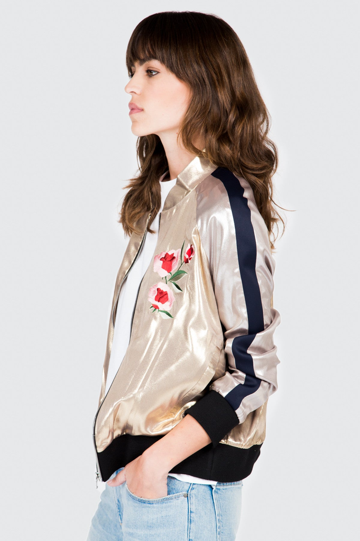 Gold Lamé Embroidered Bomber Jacket - FRANKIE