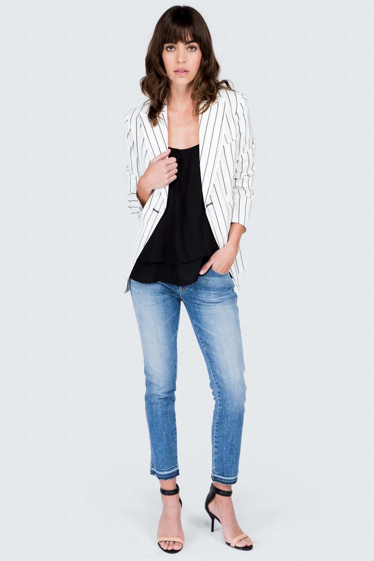 White Stretch Linen Shrunken Jacket - FRANKIE