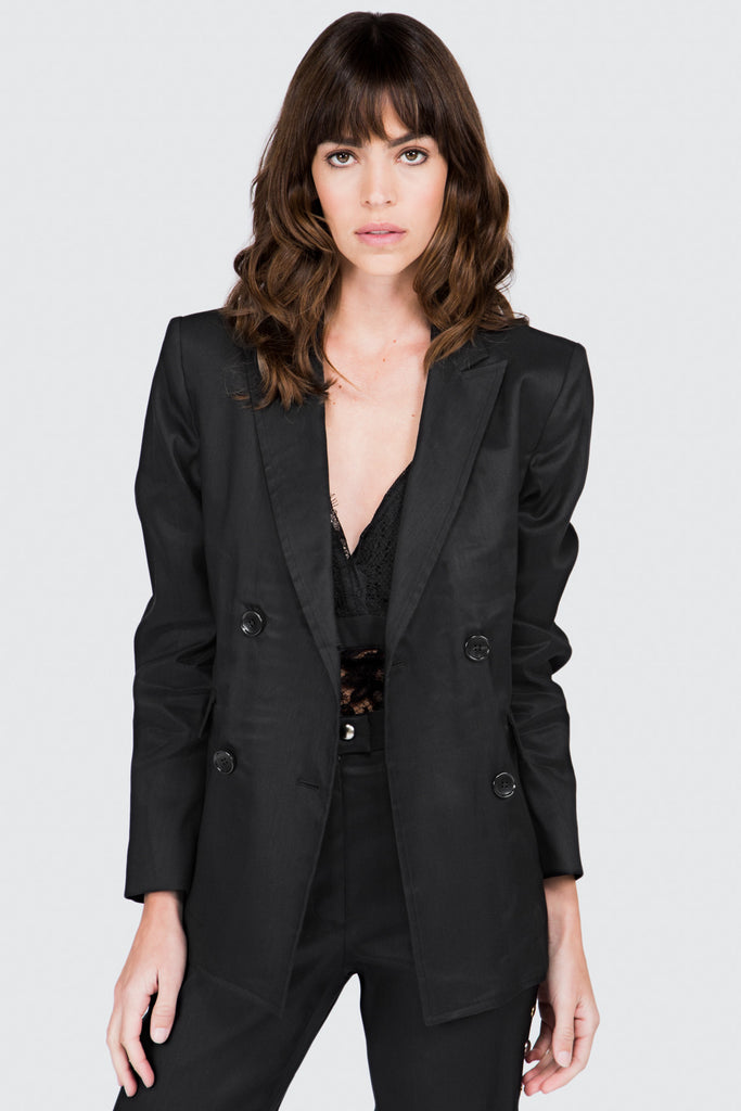 Black Stretch Linen Double Breasted Boyfriend Jacket - FRANKIE
