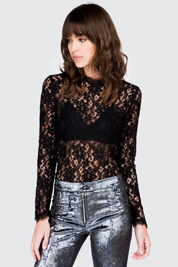 Black Long Sleeve Lace Top - FRANKIE