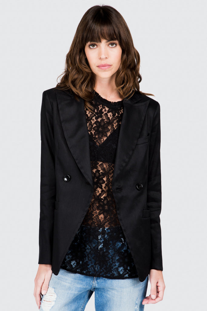 Black Stretch Linen Shrunken Jacket - FRANKIE