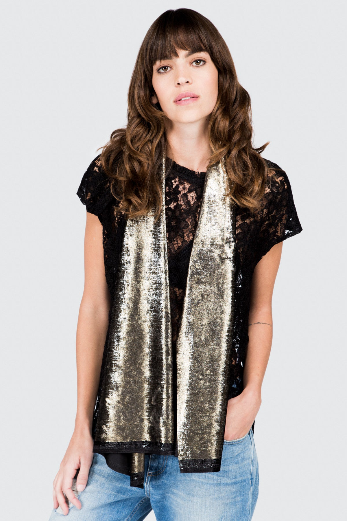 Gold Crushed Velveteen Scarf - FRANKIE