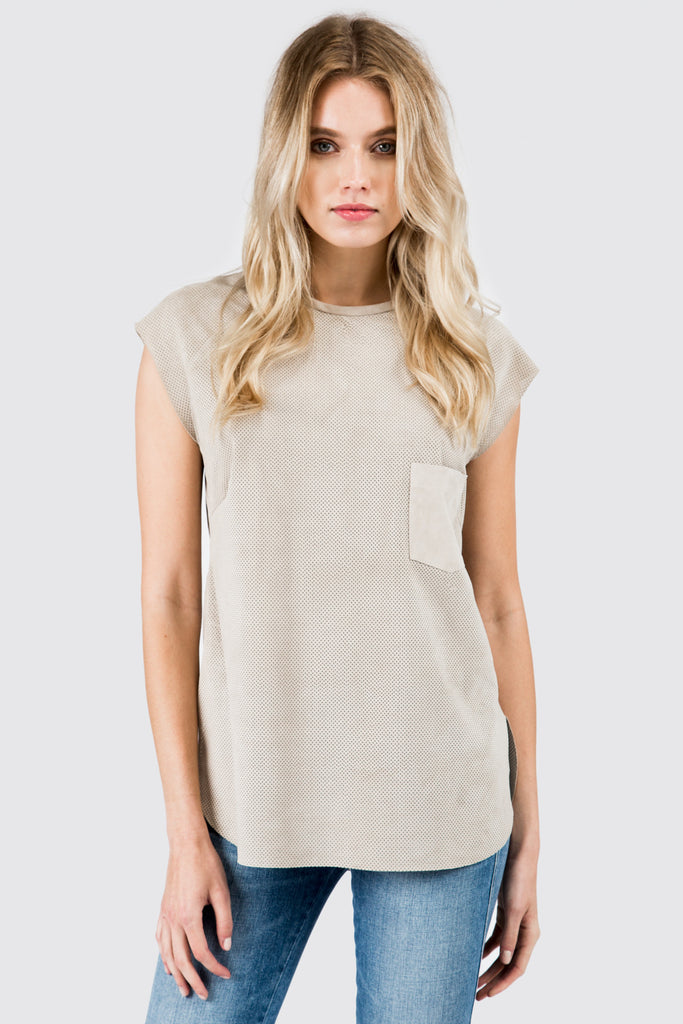 Sand Perforated Tee Shirt