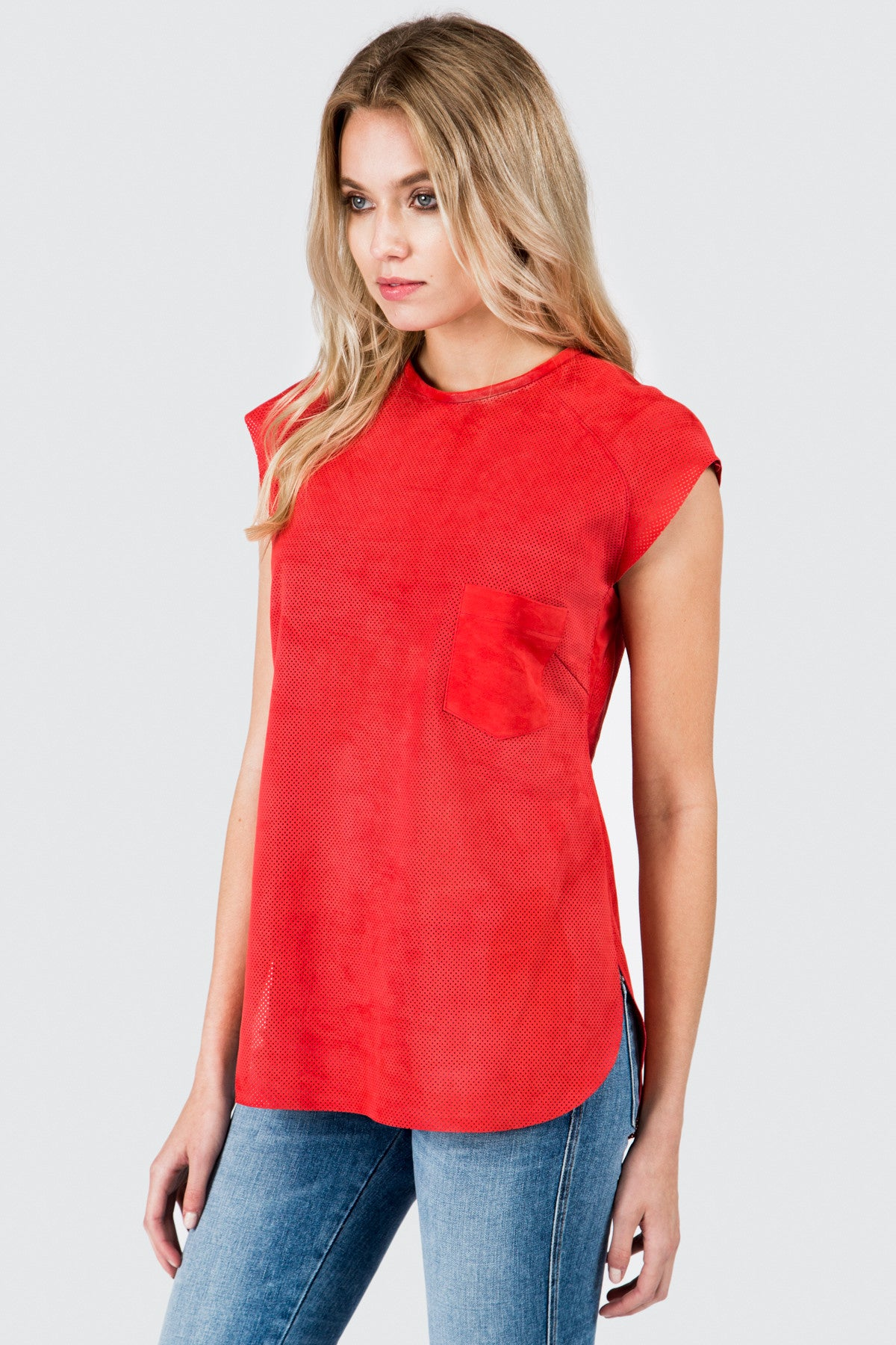 Red Perforated Tee Shirt