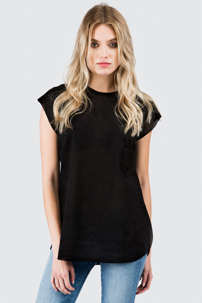 Black Perforated Tee Shirt