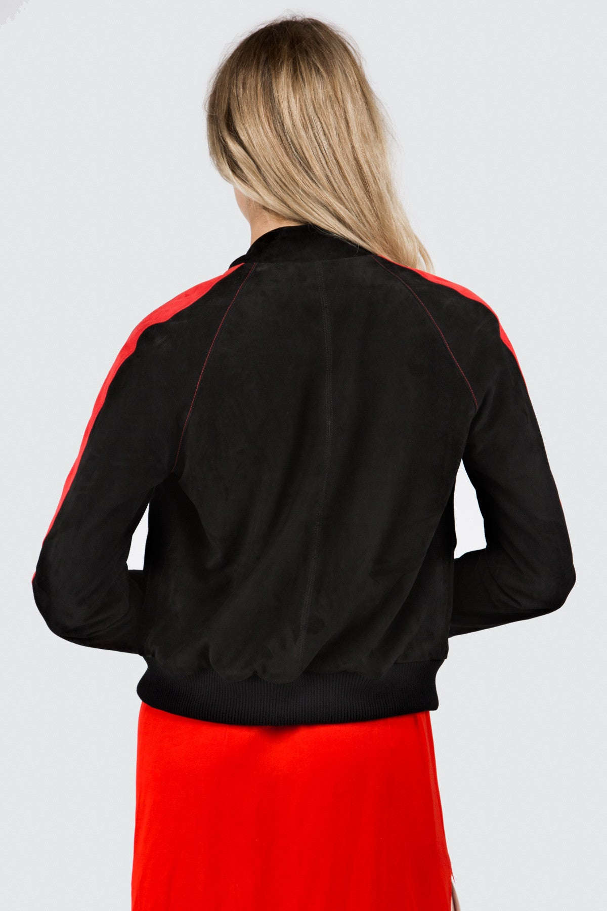 Black and Red Suede Baseball Jacket