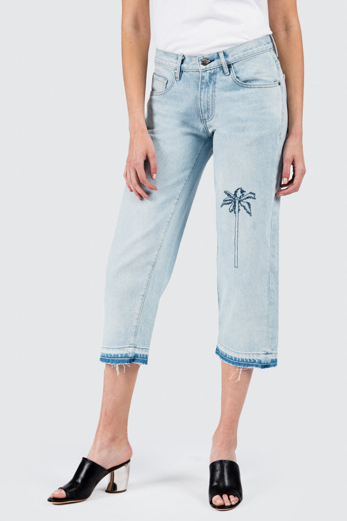 Medium Vintage Cropped Baggy with Palm Tree Embroidery