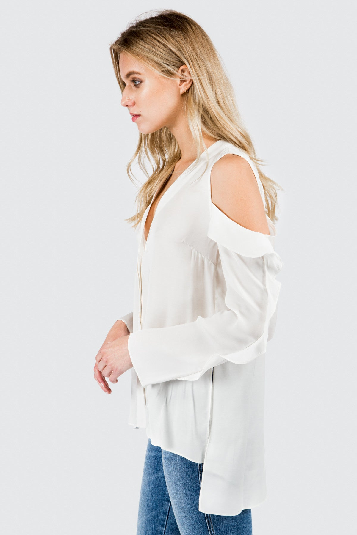 Off White Cold Shoulder Button Down Blouse